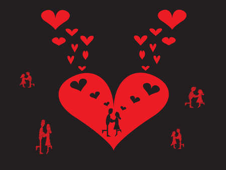 i mate: Couples dancing with a red hearts background on black