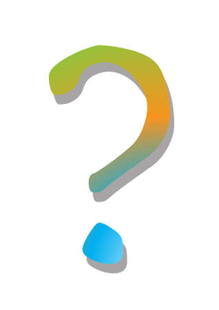 unanswered: A psychedelic coloured question mark isolated on a white background