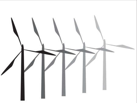 Turbine silhouettes isolated on a white background Illustration