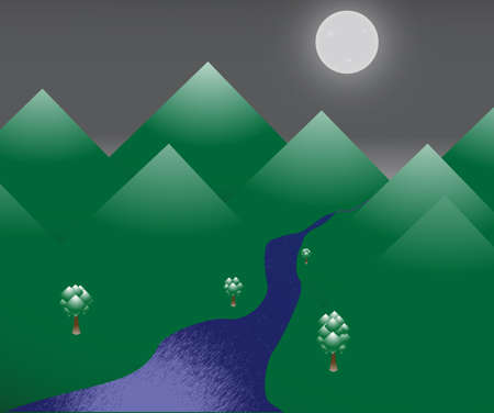 moonlit: A night scene with mountains, trees and a river in the moonlight Illustration