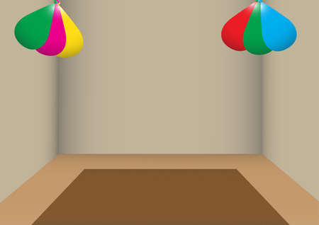 poorly: A poorly lit room decorated with coloured balloons Illustration