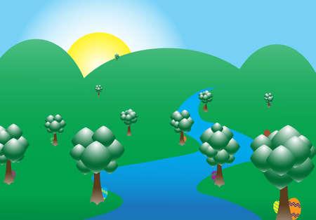 mountainous: A mountainous scene with Easter eggs hiding behind trees