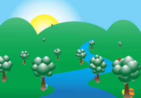 A mountainous scene with Easter eggs hiding behind trees