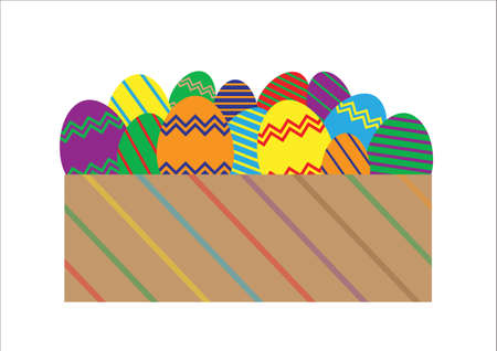 A selection of Easter eggs in a gift box isolated on a white background