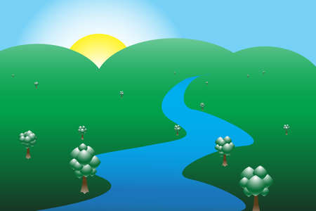 mountainous: A mountainous scene at sunrise with a river and trees