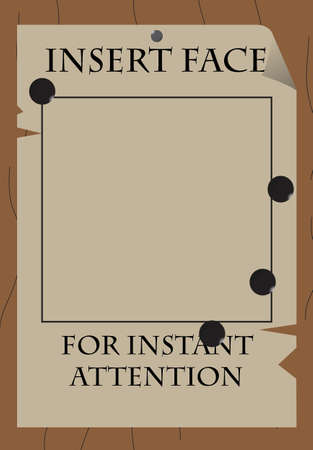 spoof: A wild west style gag  wanted  poster with bullet holes Illustration