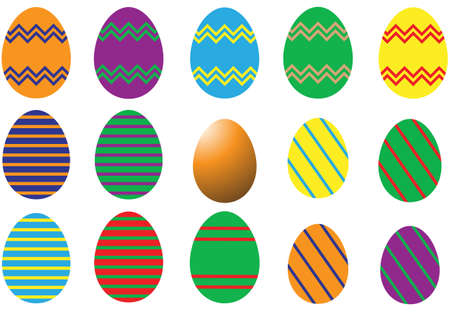 A selection of differently decorated Easter eggs on a white background Illustration