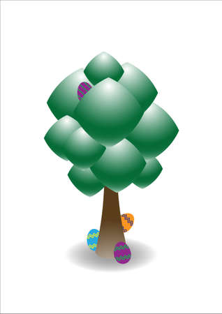 concealed: Easter eggs hiding behind a tree isolated on a white background Illustration