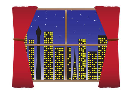 pane: A view of a city through a window at night  Illustration