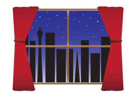 A view of a silhouetted city through a window at night with