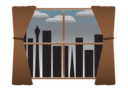 dull: Un paisaje urbano visto a trav�s de una ventana con cortinas en un d�a triste y mon�tona