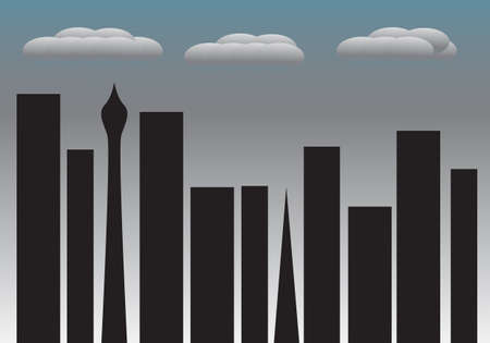 dreary: A cityscape on a dull and dreary day Illustration