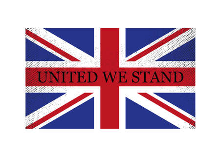 An old and worn British flag with a caption Vector