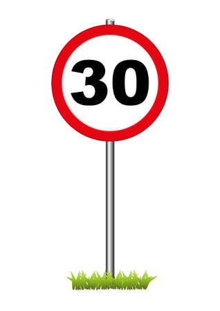 speed limit sign: A  30  speed limit sign