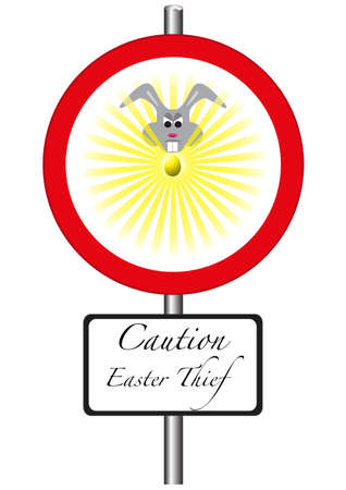 A road sign warning of evil easter bunnies ahead Vector