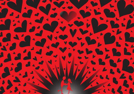 i mate: A couple kissing on an exploding red and black hearts background Illustration