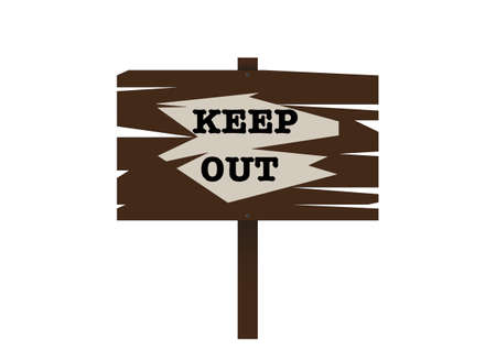 keep out: A traditional wooden  keep out  sign Illustration