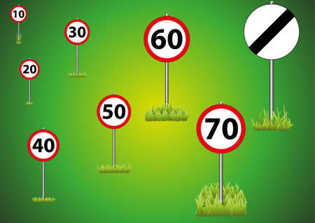 A selection of road speed limit signs on a green background
