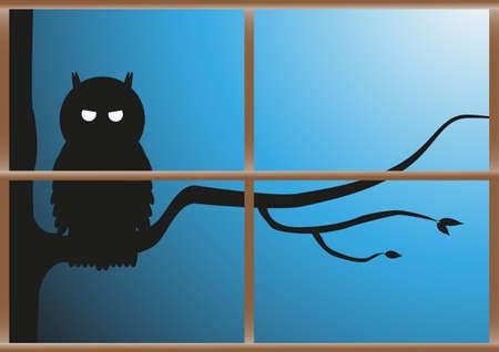 perched: A sinister looking owl perched on a tree at night viewed through a window and isolated on a white background