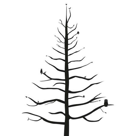 A grand tree silhouette with varying birds isolated on a white background