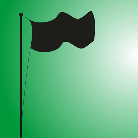 A flag silhouette blowing in the wind on a green background