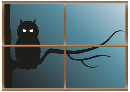 A sinister looking owl perched on a tree at night viewed through a window Vector