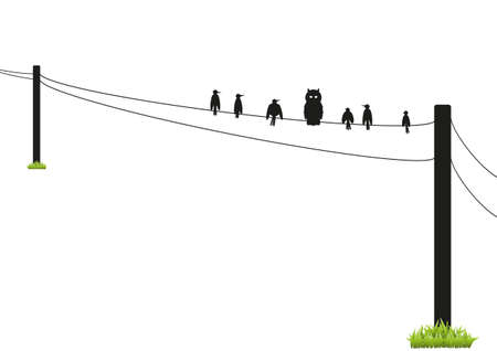 Silhouettes of birds on a wire on a white background Stok Fotoğraf - 27738505