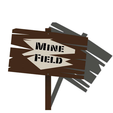 A traditional wooden sign warning of a mine field ahead Vector