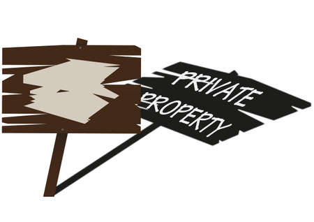 A traditional wooden sign warning of private property ahead Stock Vector - 27738506
