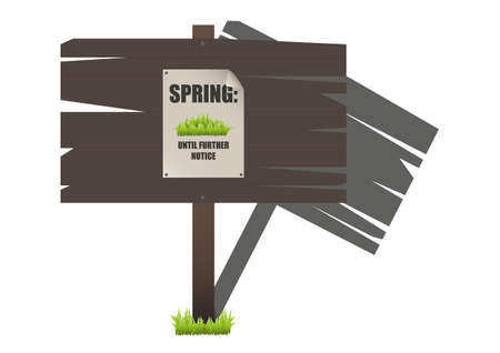 trespass: A traditional wooden sign warning of spring ahead Illustration