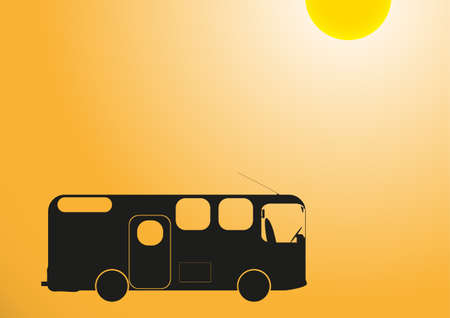 A camper van in the sun on an orange background