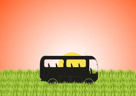 hoog gras: Een minibus in lang gras bij zonsondergang Stock Illustratie