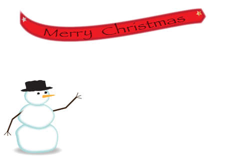 A snowman design on a greeting card on a white background Illustration