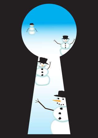 approaching: View of Snowmen approaching through a keyhole