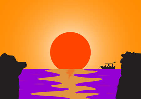 A boat at sea viewed through cliffs at sunset Illustration