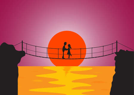 bridge over water: A couple embracing on a rope bridge at sunset over water