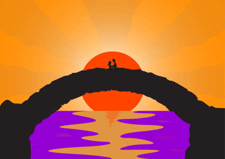 bridge over water: A couple in love on a stone bridge with a setting sun background over water Illustration