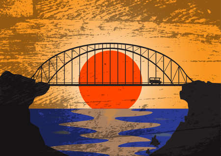 A grunged image of a modern bridge at sunset with a tour bus