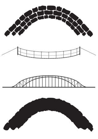 bridge over water: A selection of old and modern bridges isolated Illustration