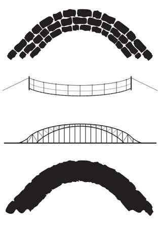 Een selectie van oude en moderne bruggen geïsoleerd