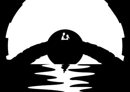 bridge over water: An abstract view of lovers embracing on a bridge over water Illustration