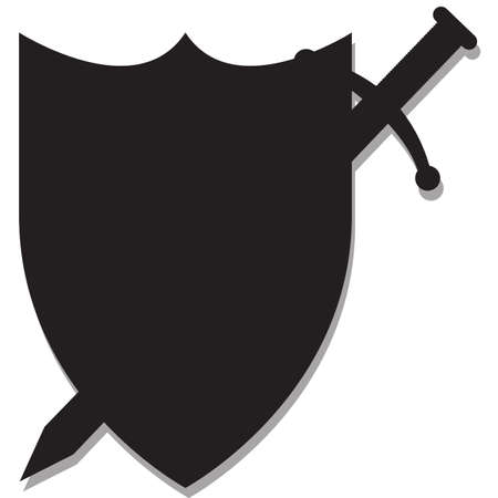 defensive: A sword and shield silhouette design isolated