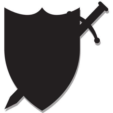 Geïsoleerde Een zwaard en schild silhouet ontwerp