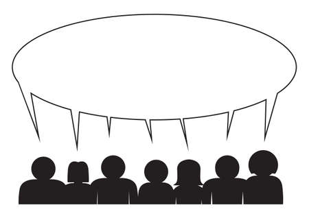 Small group of people sharing a speech bubble on a white background Vector