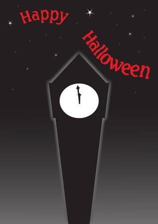 late autumn: A clock tower in the dark for a Halloween greeting
