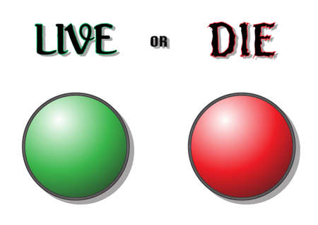 A red and a green button with the option to live or die, isolated on a white background Vector