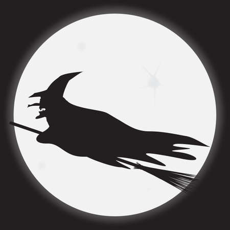 A witch silhouette with a moonlit night background