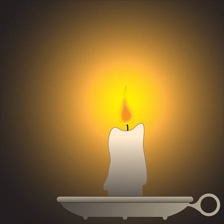 A candle design on a plate with a small flame and glow Vector