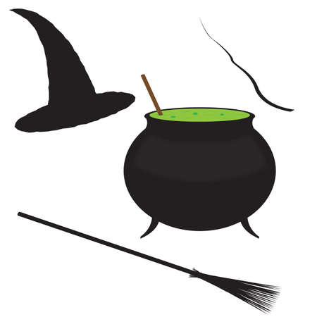A witch s essential items isolated on a white background
