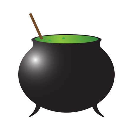 A witch s cauldron isolated on a white background